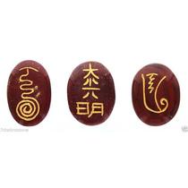 Set De Piedras De Jaspe Rojo Con Simbolos De Reiki