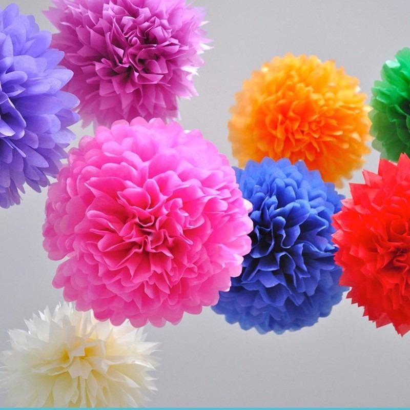 10 lamparas de papel pom pom pompones para decoraci n - Decoracion de lamparas de papel ...