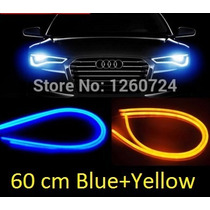 Kit Par Tiras Led Flexible Faro Tipo Audi Azul Amarillo
