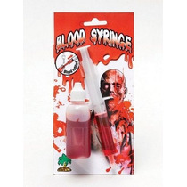 De Halloween Prop - Plástico Blanco Jeringa W Sangre Refill
