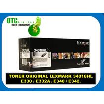 Toner Original Lexmark 34018hl E330 E332a E340 E342 Vbf