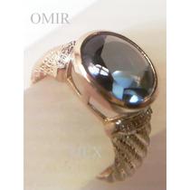 Anillo Oro 14k Moderno Aguamarina Sintetica 4 Diamantitos