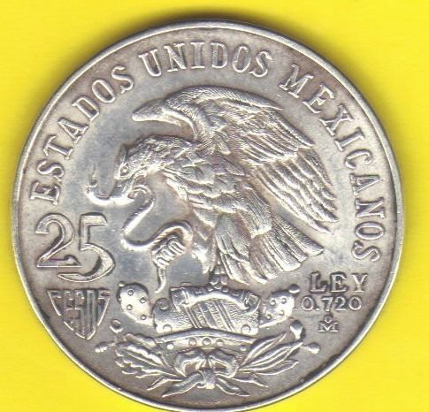25 Pesos 1968 Plata Mexico Juegos Olimpicos Juego Pelota Hm4 475