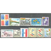 0593 Banderas Dif ´países 11 Piezas Usadas N H Modernos