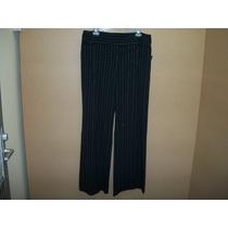 Pantalon De Vestir Negro C/rayas Blancas Y Lila Dama 13 -38