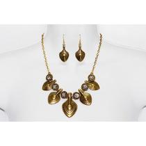 Collar Moda Color Oro Viejo Hojas, Cristales Y Aretes