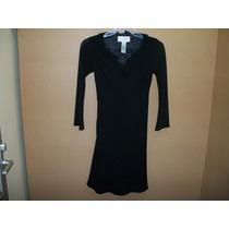 Vestido Negro Forrado C/escarola Evan Picone 4-30 Dama