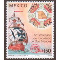 Mexico 1991 Carabela Con Resello Rojo Texapex Nuevo 50 Dls.