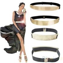 Cinto Placa Metálica Dorado Elástico Limpia De Closet Mujer