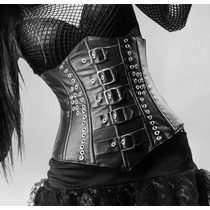 Cim09 Cinturilla En Imitacion Piel Con Hebillas, Gotico Dark