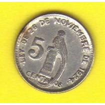 5 Centavos 1945 Plata Moneda Guatemala Quetzal - Hm4