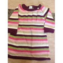 Vestido De Estambre Bebe Niña Gap 3-6 Meses Rayas Rosa Verde