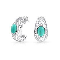 Aretes Bling Jewelry Medio Aro Filigrana Turquesa Plata