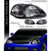 Faros Estilo Jdm Black Housing 96-98 99-00 Honda Civic