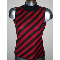 Blusa Tejida Rayada Roja C/negro George M-34 P/dama