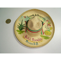 Antiguo Mini Sombero Charro Pintado Al Oleo Con Indigena