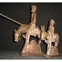 Don Quijote Y Sancho Panza Tallado En Madera Gmma008