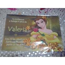 16 Invitacion Bella Con Confetti Metalico