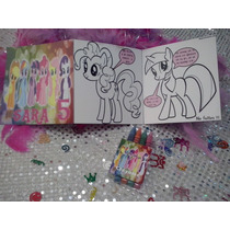 12 Invitaciones Little Pony Cuento Para Coloreal Y Crayolas