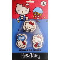 Fiesta De Hello Kitty, Paquete De 3 Gomas, Sanrio Premio