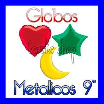 10 Globos Metalicos Corazon Estrella Luna 9 Pulgadas