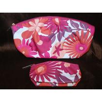 Clinique Kit 2 Cosmetiqueras Fiucsa Floral Lote 10 Sets
