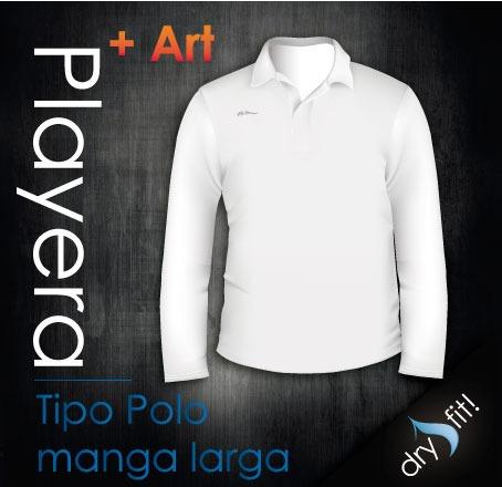 Playera Tipo Polo Manga Larga Dry Fit Con Logotipo Gratis!!  225 ... efda012a05438