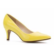 Zapatos Zapatillas Andrea De Charol Amarillas Tacón Bajito