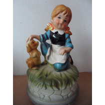 Figura Musical Girl With Dog Souvenir Japon Vintage Retro