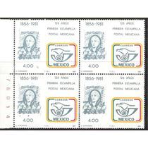 1981 Aniv Primera Estampilla Postal Mexicana Wmk Block 4 Mnh