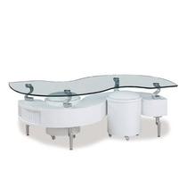 Mesa De Centro Moderna Vidrio 2 Mini Taburetes Hm4
