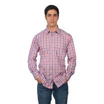 Camisa Marca Bucardo - Manga Larga De Cuadros Azules Y Rojos