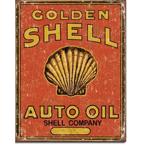 Poster Metalico Lamina Anuncio Retro Aceite Golden Shell Oil