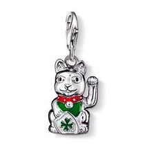 Dije-gato Chino De La Suerte-plata.925-esmaltado-flete Grat