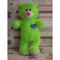 Tierno Oso De Peluche Verde C/corazon I Love You 34 Cm.