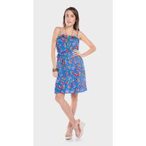 Lindo Y Fresco Vestido De Tirantes Diseño Con Flores, Azul