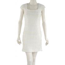Vestido Blanco Mangas Cortas, Tejido