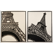 Set 2 Cuadros Torre Eiffel Acrílico Sobre Lienzo