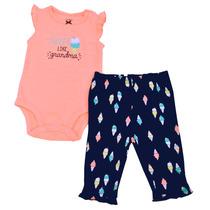 Conjunto De 2 Piezas Para Niña - Carters-pañalero Y Pantalón
