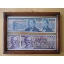 4 Billetes Nuevos En Marco De Madera Doble Vidrio