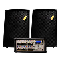 Combo Mezcladora 6 Ch Usb Sd + 2 Bafles De 15 + Cables +mic
