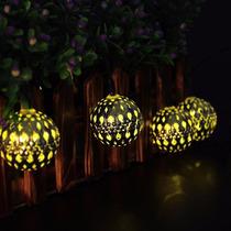 Lampara Solar Morocco Ball Led Luces De Navidad, 11ft 10 Led