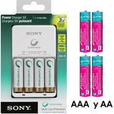 Kit De 8 Pilas Recargables Y Cargador Ni-mh Aa Sony Y Aaa