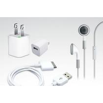 Kit Iphone 3 4 4s Ipod Audifonos Manos Libres Cargador Cable