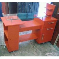 Mueble Mesa Para Estetica, Uñas, 1.20 De Largo Con Cristal