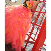 Vestido De Xv Años Rosa Coral Tornasol