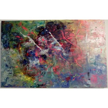 Magnifico Cuadro/pintura Al Oleo Abstracto Pasion Y Alegria