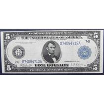 Billete De Usa $ 5.00 Dollar 1913 Tipo Ancho Escaso S/c