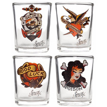 Shotglass Set Sailor Jerry Tattoos Rockabilly