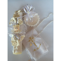 Set De Bautizo Angel Pasta Francesa,virgencita,vela,rosario